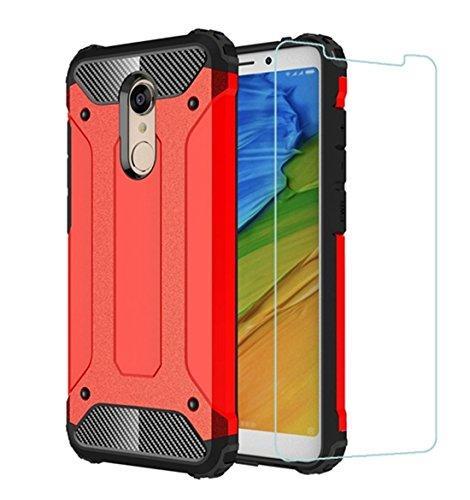 DESCHE Funda Xiaomi Redmi 5 Plus Hard PC Soft TPU 2 en 1 360 Armadura Protectora Funda Resistente a los Arañazos a Prueba de Golpes Funda Duradera para teléfono+Vidrio Templado Rojo