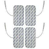4 Electrodos medianos conexión clavija - Parches TENS EMS 10x5cm - Para electroestimuladores conexión banana 2mm - Almohadillas calidad axion