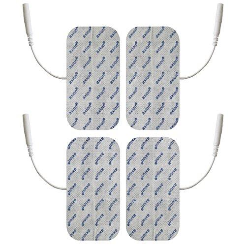 ems elektroden Elektroden/Pads, 4 Stück, 100x50mm, selbstklebend, für TENS - EMS - Reizstromgerät mit 2mm-Anschluss