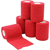 YuMai Selbsthaftende Elastische Bandage, 7.5 cm x 6 Rollen, Athletic Medizinische Cohesive Bandage, Rot preisvergleich bei billige-tabletten.eu