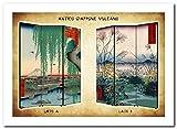 Separè Paravento Vulcano | Divisorio Giapponese 3 ante Stampa Ukiyo-e