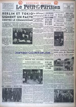 PETIT PARISIEN DERNIERE EDITION (LE) [No 21821] du 26/11/1936