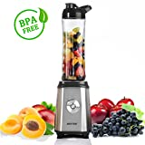 BESTEK Mini Blender Smoothie Individuel Mixeur Fruit avec Gobelet Portable 600ml sans BPA 350W Sport Voyage Jus de Fruits