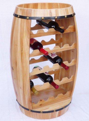 DanDiBo Weinregal Weinfass Fass aus Holz H-81 cm Nr.0370 Flaschenständer Regal Naturlack