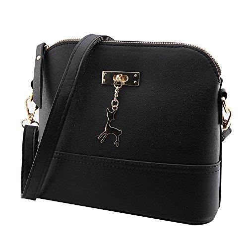 Kleine Umhängetaschen Leder Damen Günstige Handtaschen Schule Elegant Shopper (schwarz)