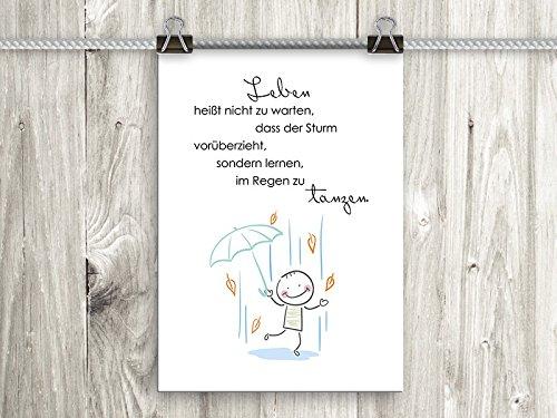 artissimo, Poster mit Spruch, Din A4, PE0017-DR, Leben heißt nicht zu warten…, Bild mit Spruch, Spruchbild, Wandbild, Plakat, Kunstdruck, Zitat, Sprüche, Wanddekoration