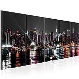 Bilder New York City Wandbild 200 x 80 cm Vlies - Leinwand Bild XXL Format Wandbilder Wohnzimmer Wohnung Deko Kunstdrucke Weiß 5 Teilig -100% MADE IN GERMANY - Fertig zum Aufhängen 601955a
