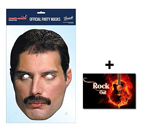 Kostüm Singles - Freddie Mercury Official Queen Single Karte Partei Gesichtsmasken (Maske) Enthält 6X4 (15X10Cm) starfoto