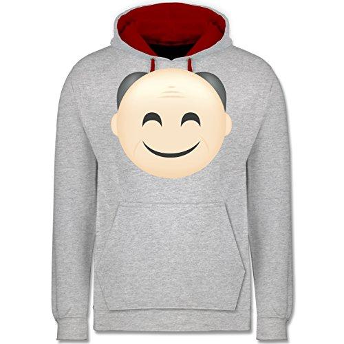 Opa - Opa Emoji - Kontrast Hoodie Grau Meliert/Rot