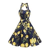 Topdress Women's Vintage Polka Audrey Dress 1950s Halter Retro Cocktail Dress Lemon M