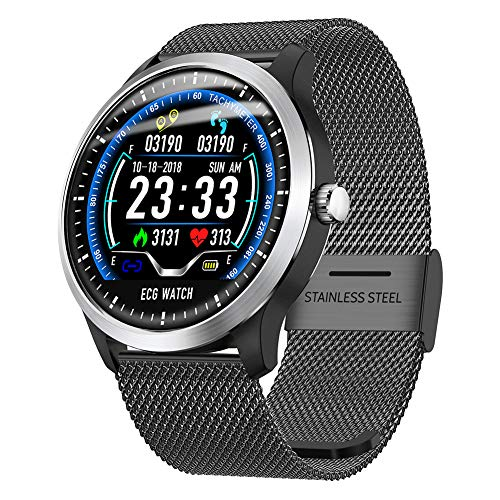 Ocamo N58 Smart Watch Sport Armband PPG EKG HRV Bericht Herzfrequenz Blutdruck Test Monitor Schrittzähler Schwarzer Stahl