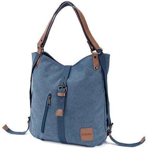 , Damen Rucksack Handtasche Vintage Umhängentasche Anti Diebstahl Hobotasche für Alltag Büro Schule Ausflug Einkauf Blau ()
