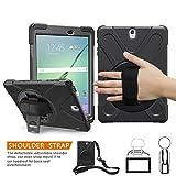 sumsung Galaxy Tab S3 9,7 Case, braecn [Heavy Duty] 360 Grad drehbar Ständer/A Handschlaufe und verstellbarem Schulterriemen Fall [stoßfest] Hybrid PC + Silikon Cover für Samsung Galaxy T820/t825 C (black)