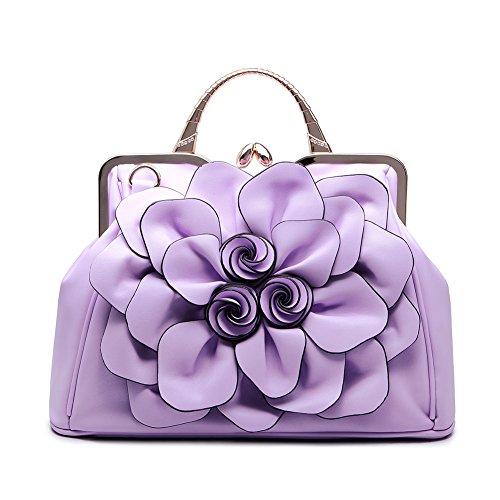 Realer Designer Ledertragetaschen Geldbörsen und Handtaschen Blumen für Frauen Umhängetasche Hobo Bag Floral Lila (Designer-handtasche Blume)