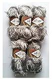 5 x 100 Gramm Alize Strickgarn mit Fransen silber grau Nr. 119, 500 Gramm Plüsch Fransengarn