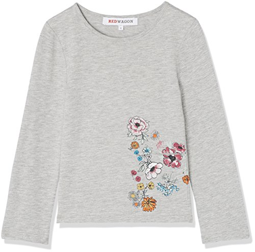 RED WAGON Mädchen Sweatshirt mit Blumenmotiv, Grau, 128 (Herstellergröße: 8 Jahre)
