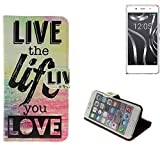 K-S-Trade® Für -BQ Readers Aquaris X5 Plus- Schutz Hülle 360° Wallet Case ''live Life Love'' Schutzhülle Handy Tasche Handyhülle Etui Smartphone Flip Cover Standfunktion (1x)