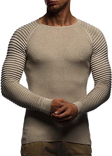 LEIF NELSON Herren Pullover Strickpullover Hoodie Basic Rundhals Crew Neck Sweatshirt langarm Sweater Feinstrick LN20729