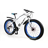 MYTNN Fatbike 26 Zoll 21 Gang Shimano Fat Tyre Mountainbike Gold 47 cm RH Snow Bike Fat Bike (weiß/Blau)