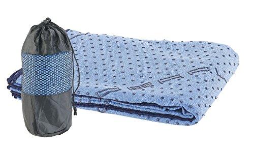 PEARL Sports Yogatuch: 2in1-Mikrofaser-Yoga-Handtuch & Auflage, saugfähig, rutschfest, blau (Handtuch für Gymnastikmatte)