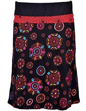Hasta la rodilla Tattopani falda colorida con cinturilla elástica y Embroidery- MANDALA FALDA