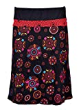 TATTOPANI knielange Baumwollrock mit elastischem Bund und Blütenstickerei - Mandala Skirt (BLACK-TSK574-S)