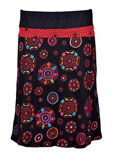 TATTOPANI hasta la Rodilla Falda Colorida con Cinturilla elástica y Embroidery- Mandala Falda