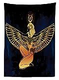 Nappe égyptienne Yeuss,Personnage Antique avec Ailes déployées Spiritualité Occultisme Thème,Housse de Table Cuisine rectangulaire,Indigo et Jaune