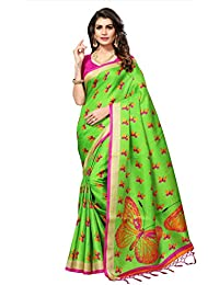 Women's Green Color Butterfly Print Saree With Blouse Piece
