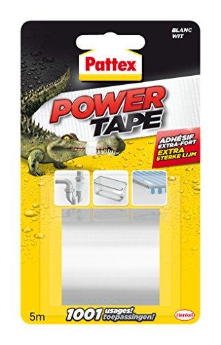 Pattex Power Tape, Ruban adhésif extra fort pour charges lourdes, Bande adhésive toilée tous supports, Rouleau adhésif étanche de 48 mm x 5 m, blanc