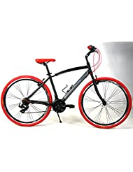 "'Bicicleta ""Adriatica híbrida con cambio 6 V Modelo Boxter RT Color Negro/Rojo"