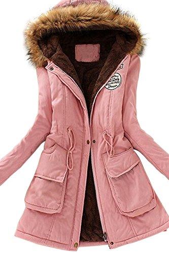 Babyonline® Damen Parka Winter Herbst Jacke Kapuzen Fleecejacket Trenchcoat  Mantel Übergangsjacke Rosa 0841740f1d