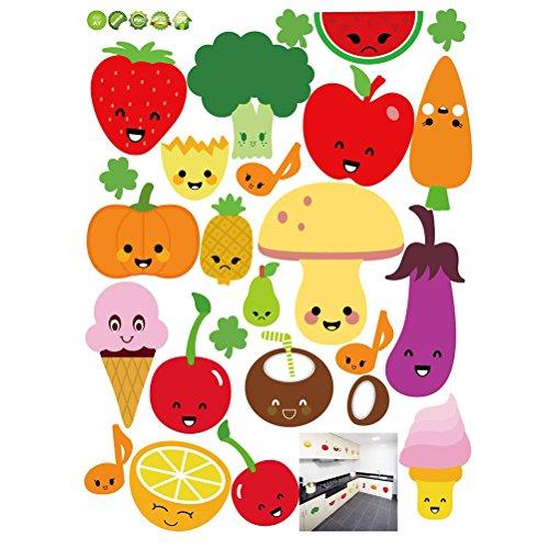 Pegatinas de Pared extraíble de Dibujos Animados de Frutas y Verduras Pegatinas de Pared de Vinilo Fondos de Escritorio de DIY calcomanías para la Cocina Nevera 45 x 60 cm