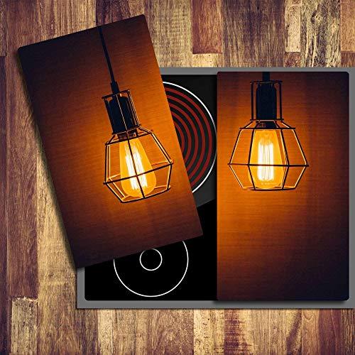 gsmarkt | Herdabdeckplatten Ceranfeldabdeckung Spritzschutz Glas 2x30x52 Lampe Orange -