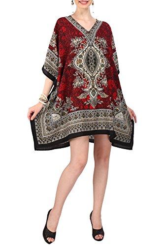 Miss Lavish London Frauen Kaftan Tunika Kimono Stil Plus Größe Kleid für Loungewear Ferien Nachtwäsche & Jeden Tag Abdeckung nach Oben Oberteile #121 [EU Rot 52-56]