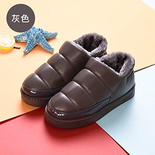 DogHaccd pantofole,Bambini pantofole di cotone cuoio e rabboccato il grazioso inverno uomini e donne calde del genitore-figlio di una famiglia di tre baby soft pacchetto spessa con scarpe di cotone Grigio4