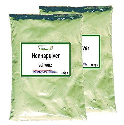 Pulver-haarfarben (Henna Pulver schwarz (2x 500 g) Hennapulver Haarfarbe natürliche Haarpflege 1000 g 1kg)