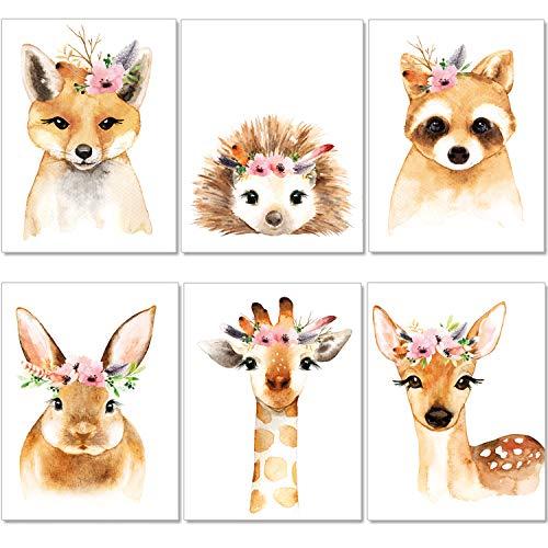 artpin® 6er Set Poster Kinderzimmer - A4 Bilder Babyzimmer - Boho Deko Mädchen Wandbilder (P39)