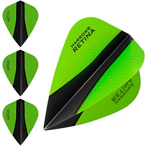 HARROWS retina-x Dart Flights-5sets (15)-100micron Extra Stark-Kite-Grün
