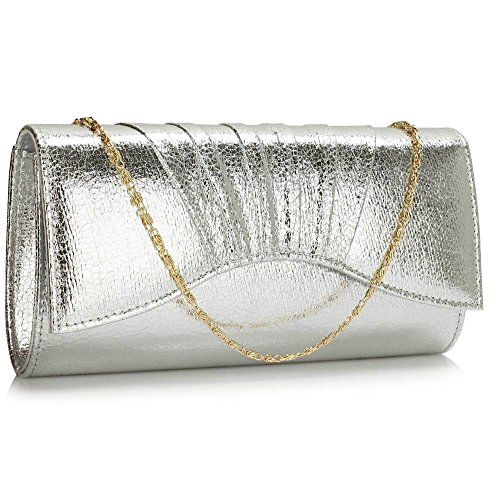 TrendStar Frau Kupplungs Taschen Damen Metallisch Abend Abschlussball Partei Abend Kupplungs Silber