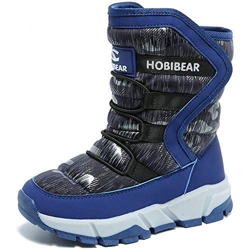 Winterstiefel Jungen Winterschuhe Kinder Schneestiefel Mädchen Wasserdichte Stiefel Warm Winter Schuhe Snowboots Gefüttert Schneeboots Unisex für Herbst Outdoor, Blau, 31 EU