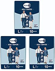"""Kare In Adult Diapers Large 10 Count, Waist Size 101-139cm (40""""-55"""")-Pack of 3 ("""