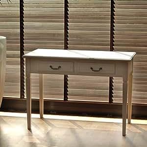 Meuble secrétaire, blanc, 2 tiroirs, 108x55x76cm