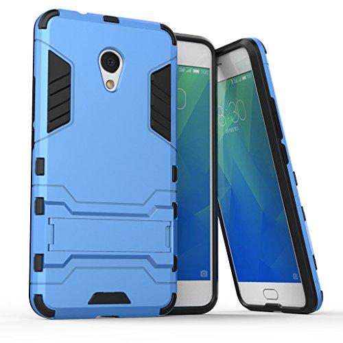 Ougger Custodia per Meizu M5s Custodia Case, Protettivo Estrema Assorbimento Urti [Kickstand] Armatura Cell Cover Duro PC + Morbido TPU Leggero Gomma 2in1 Back Gear Rear Azzurro