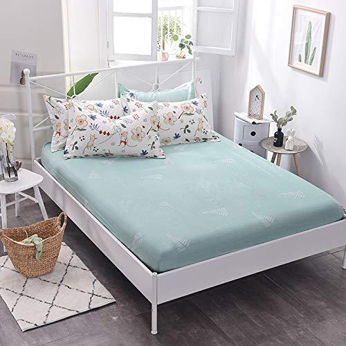 SUYUN wasserdichter Matratzenbezug, atmungsaktiv und abwischbar für Matratzen,Einteiliger Bettbezug aus Baumwolle, grünes Blatt - Baumwolle Wasserbett Blatt