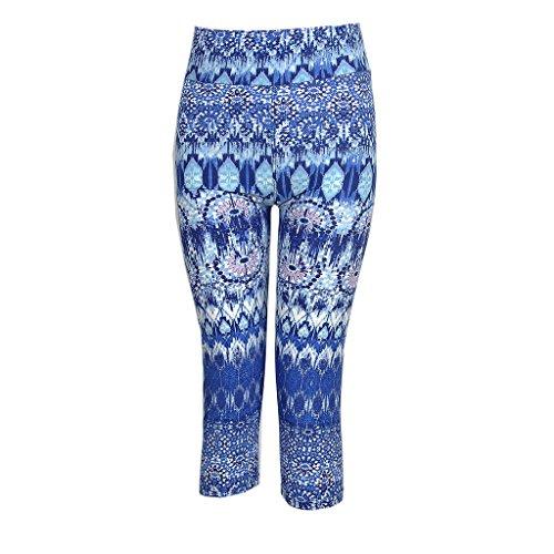 Ultra moderne pour femme tartan Active Sport Capri pour Femme Drap-housse élastique taille haute pour femme Fitness Yoga Sport court pantalon stretch pour femme Bleu