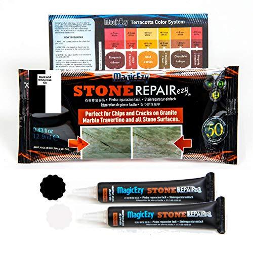 MagicEzy Stone RepairezyTM - Black and White Kit (Blanc et Noir) - Stone Fix - Granite, marbre et...
