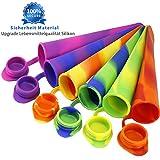 Joyoldelf 6 Stück Silikon Eis am Stiel Eislutscher Formen,Ice Pop Maker Formen Set - 100% Lebensmittel Silikon- BPA frei