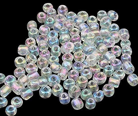 450g Rocailles 4mm Silbereinzug Glasperlen Kristall Weiß AB 6/0 5000stk Rainbow A153