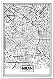 Panorama® Poster Karte von Mailand 35 x 50 cm | Gedruckt